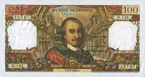 Banknotes Banque de France. Billet. 100 francs, Corneille, 3.2.1966