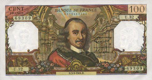 Banknotes Banque de France. Billet. 100 francs, Corneille, 3.9.1964
