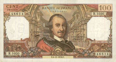 Banknotes Banque de France. Billet. 100 francs, Corneille, 4.11.1976