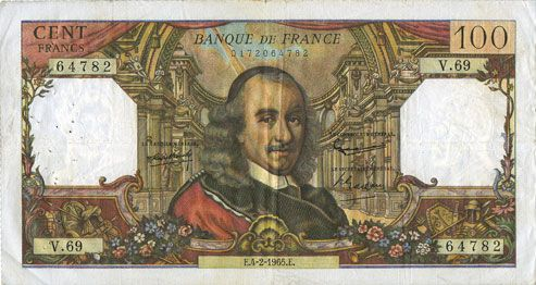 Banknotes Banque de France. Billet. 100 francs, Corneille, 4.2.1965