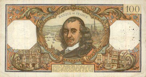 Banknotes Banque de France. Billet. 100 francs, Corneille, 4.2.1971