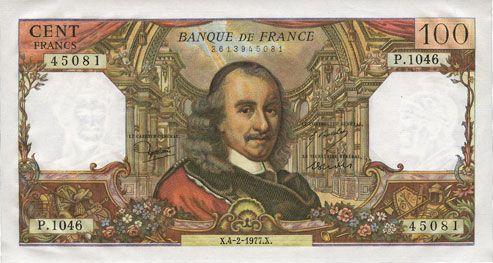 Banknotes Banque de France. Billet. 100 francs, Corneille, 4.2.1977