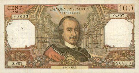 Banknotes Banque de France. Billet. 100 francs, Corneille, 4.7.1974