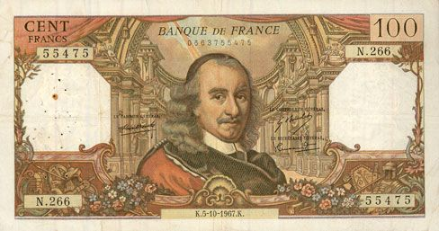 Banknotes Banque de France. Billet. 100 francs, Corneille, 5.10.1967