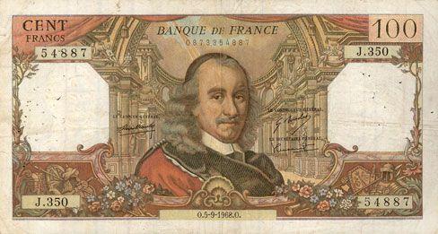 Banknotes Banque de France. Billet. 100 francs, Corneille, 5.9.1968