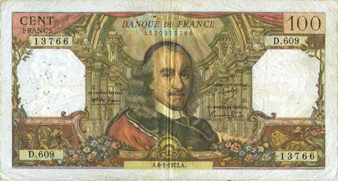 Banknotes Banque de France. Billet. 100 francs, Corneille, 6.1.1972