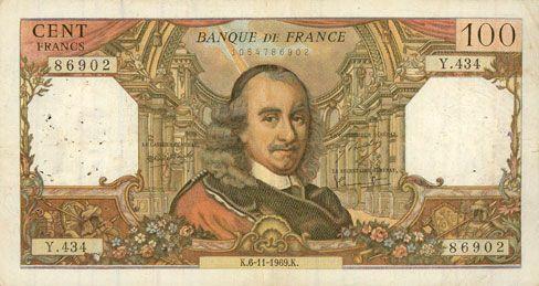 Banknotes Banque de France. Billet. 100 francs, Corneille, 6.11.1969