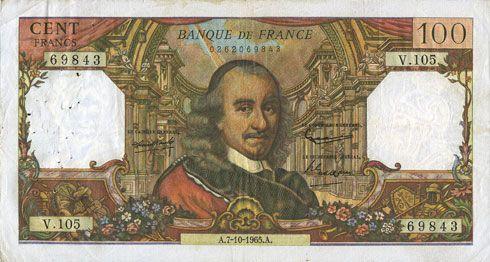 Banknotes Banque de France. Billet. 100 francs, Corneille, 7.10.1965
