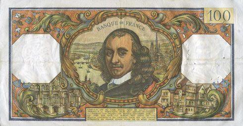Banknotes Banque de France. Billet. 100 francs, Corneille, 7.4.1966
