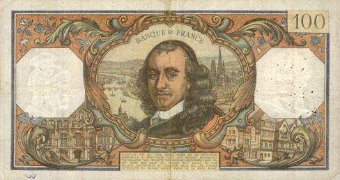 Banknotes Banque de France. Billet. 100 francs, Corneille, 8.11.1973