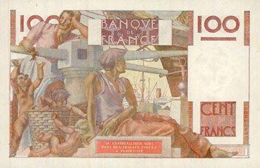 Banknotes Banque de France. Billet. 100 francs jeune paysan, 1.10.1953