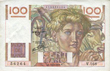 Banknotes Banque de France. Billet. 100 francs jeune paysan, 19.12.1946