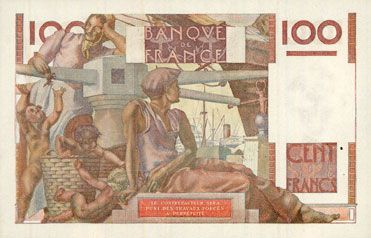 Banknotes Banque de France. Billet. 100 francs jeune paysan, 19.5.1949