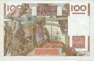 Banknotes Banque de France. Billet. 100 francs jeune paysan, 2.10.1952