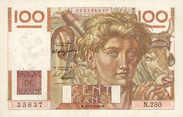 Banknotes Banque de France. Billet. 100 francs jeune paysan, 2.12.1948