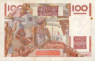 Banknotes Banque de France. Billet. 100 francs jeune paysan, 21.11.1946
