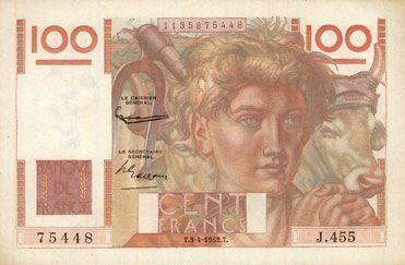 Banknotes Banque de France. Billet. 100 francs jeune paysan, 3.4.1952