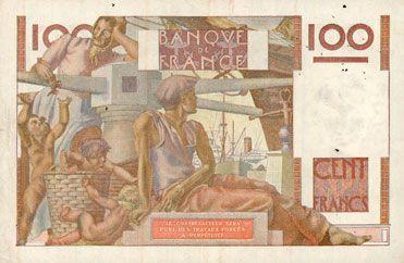 Banknotes Banque de France. Billet. 100 francs jeune paysan, 4.6.1953