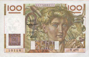 Banknotes Banque de France. Billet. 100 francs jeune paysan, 4.9.1952