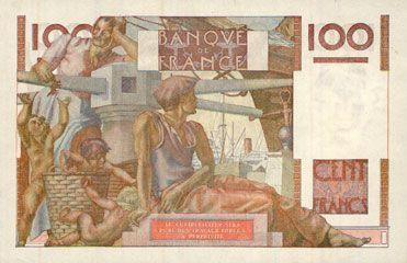 Banknotes Banque de France. Billet. 100 francs jeune paysan, 5.2.1953