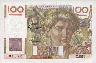 Banknotes Banque de France. Billet. 100 francs jeune paysan, 6.8.1953