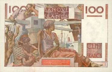 Banknotes Banque de France. Billet. 100 francs jeune paysan, 6.9.1951