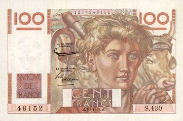 Banknotes Banque de France. Billet. 100 francs jeune paysan, 7.2.1952