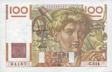 Banknotes Banque de France. Billet. 100 francs jeune paysan, 7.4.1949