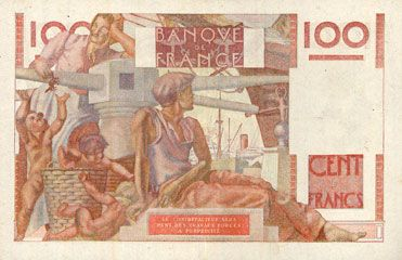 Banknotes Banque de France. Billet. 100 francs jeune paysan, 9.1.1947