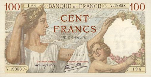 Banknotes Banque de France. Billet. 100 francs Sully, 13.3.1941