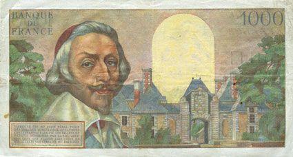 Banknotes Banque de France. Billet. 1000 francs, Richelieu, 1.12.1955