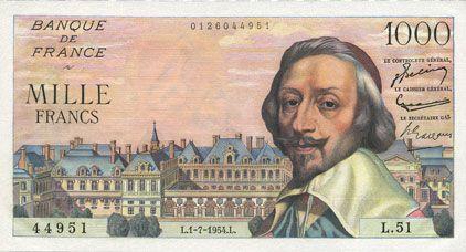 Banknotes Banque de France. Billet. 1000 francs, Richelieu, 1.7.1954