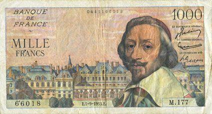 Banknotes Banque de France. Billet. 1000 francs, Richelieu, 1.9.1955