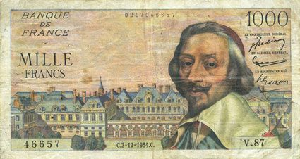 Banknotes Banque de France. Billet. 1000 francs, Richelieu, 2.12.1954