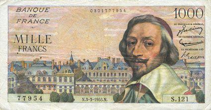 Banknotes Banque de France. Billet. 1000 francs, Richelieu, 3.3.1955