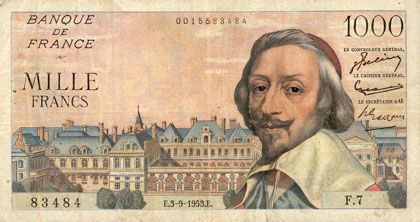 Banknotes Banque de France. Billet. 1000 francs, Richelieu, 3.9.1953
