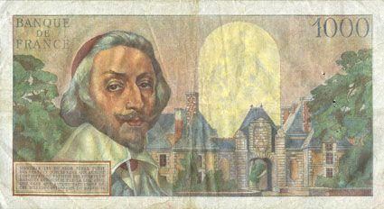Banknotes Banque de France. Billet. 1000 francs, Richelieu, 4.10.1956