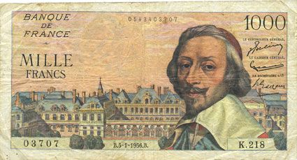 Banknotes Banque de France. Billet. 1000 francs, Richelieu, 5.1.1956