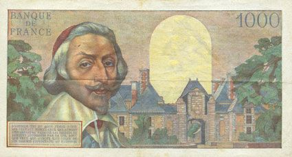 Banknotes Banque de France. Billet. 1000 francs, Richelieu, 5.4.1956