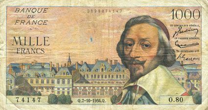 Banknotes Banque de France. Billet. 1000 francs, Richelieu, 7.10.1954