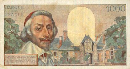 Banknotes Banque de France. Billet. 1000 francs, Richelieu, 7.3.1957