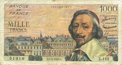 Banknotes Banque de France. Billet. 1000 francs, Richelieu, 7.4.1955