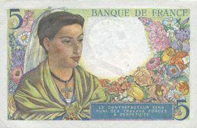 Banknotes Banque de France. Billet. 5 francs berger, 22.7.1943