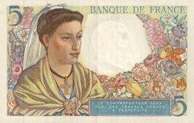 Banknotes Banque de France. Billet. 5 francs berger, 23.12.1943