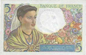 Banknotes Banque de France. Billet. 5 francs berger, 23.12.1943
