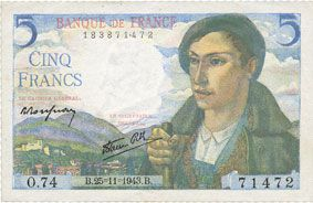 Banknotes Banque de France. Billet. 5 francs berger, 25.11.1943