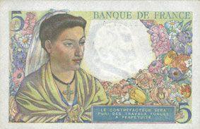 Banknotes Banque de France. Billet. 5 francs berger, 30.10.1947