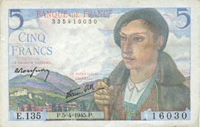 Banknotes Banque de France. Billet. 5 francs berger, 5.4.1945