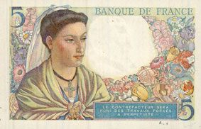 Banknotes Banque de France. Billet. 5 francs berger, 5.4.1945