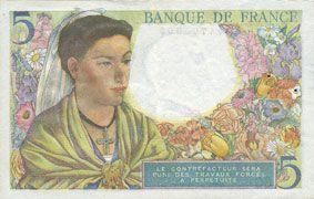 Banknotes Banque de France. Billet. 5 francs berger, 5.8.1943